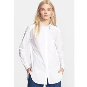 Theory Fedele White Classic Button Down Shirt
